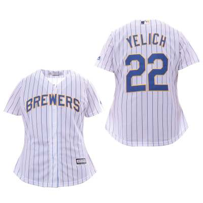 Women's Brewers #22 Christian Yelich White Cool Base Jersey