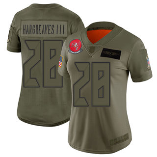 Women's Buccaneers #28 Vernon Hargreaves III Camo Stitched Football Limited 2019 Salute to Service Jersey
