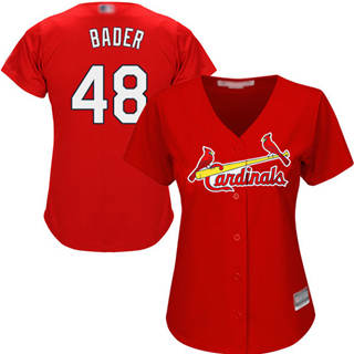 Women's Cardinals #48 Harrison Bader Red Alternate Stitched Baseball Jersey