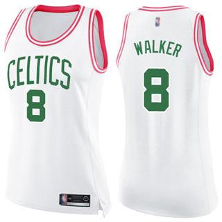 Women's Celtics #8 Kemba Walker White Pink Basketball Swingman Fashion Jersey