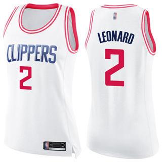 Women's Clippers #2 Kawhi Leonard White Pink Basketball Swingman Fashion Jersey