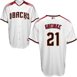 Women's Diamondbacks #21 Zack Greinke White Crimson Home Stitched Baseball Jersey