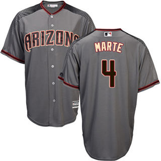 Women's Diamondbacks #4 Ketel Marte Gray Road Stitched Baseball Jersey