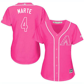 Women's Diamondbacks #4 Ketel Marte Pink Fashion Stitched Baseball Jersey
