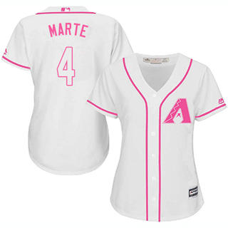 Women's Diamondbacks #4 Ketel Marte White Pink Fashion Stitched Baseball Jersey
