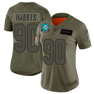 Women's Dolphins #90 Charles Harris Camo Stitched Football Limited 2019 Salute to Service Jersey