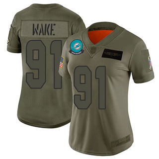 Women's Dolphins #91 Cameron Wake Camo Stitched Football Limited 2019 Salute to Service Jersey