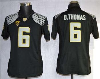 Women's Ducks #6 De'Anthony Thomas Black Limited Stitched NCAA Jersey
