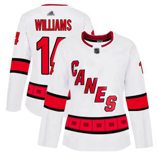 Women's Hurricanes #14 Justin Williams White Road Authentic Stitched Hockey Jersey