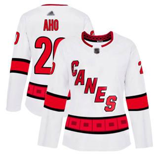 Women's Hurricanes #20 Sebastian Aho White Road Authentic Stitched Hockey Jersey