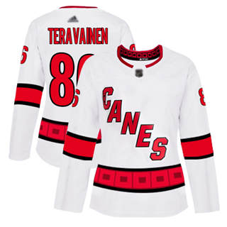 Women's Hurricanes #86 Teuvo Teravainen White Road Authentic Stitched Hockey Jersey