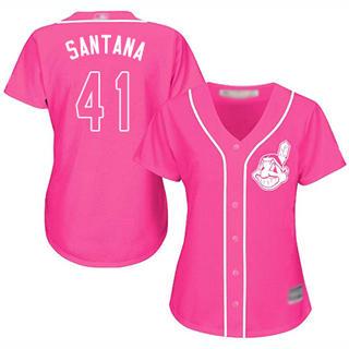 Women's Indians #41 Carlos Santana Pink Fashion Stitched Baseball Jersey