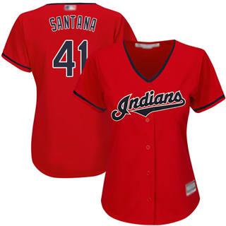 Women's Indians #41 Carlos Santana Red Alternate Stitched Baseball Jersey