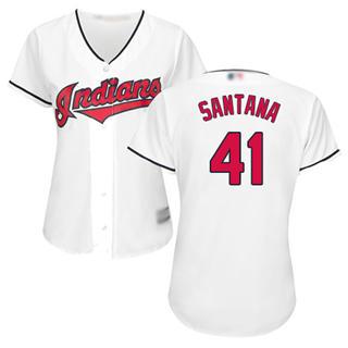 Women's Indians #41 Carlos Santana White Home Stitched Baseball Jersey