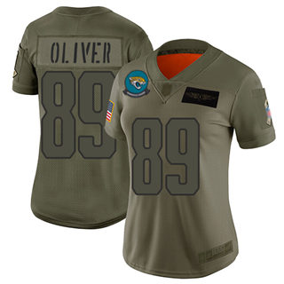 Women's Jaguars #89 Josh Oliver Camo Stitched Football Limited 2019 Salute to Service Jersey