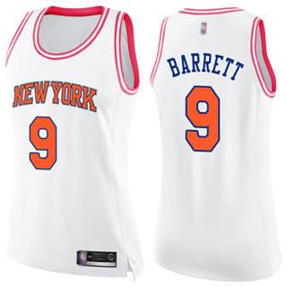Women's Knicks #9 R.J. Barrett White-Pink Basketball Swingman Fashion Jersey