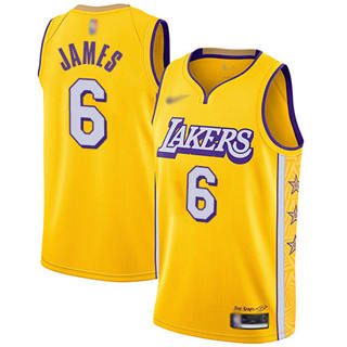 Women's Lakers #6 LeBron James Gold Basketball Swingman City Edition 2019-2020 Jersey