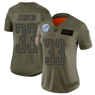 Women's Lions #33 Kerryon Johnson Camo Stitched Football Limited 2019 Salute to Service Jersey