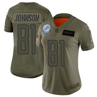 Women's Lions #81 Calvin Johnson Camo Stitched Football Limited 2019 Salute to Service Jersey