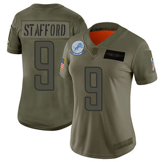 Women's Lions #9 Matthew Stafford Camo Stitched Football Limited 2019 Salute to Service Jersey