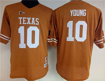Women's Longhorns #10 Vince Young Orange Stitched NCAA Jersey