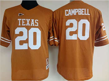 Women's Longhorns #20 Earl Campbell Orange Stitched NCAA Jersey