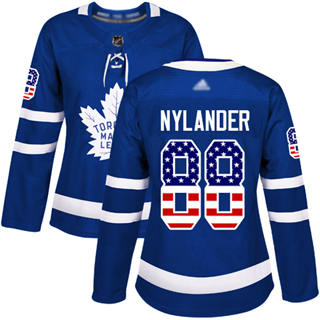 Women's Maple Leafs #88 William Nylander Blue Home Authentic USA Flag Stitched Hockey Jersey