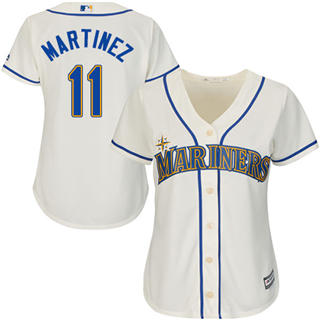 Women's Mariners #11 Edgar Martinez Cream Alternate Stitched Baseball Jersey