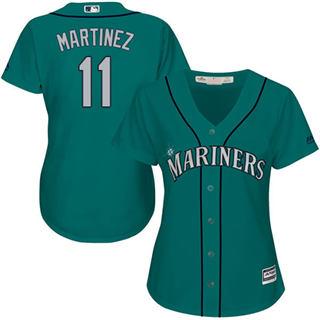 Women's Mariners #11 Edgar Martinez Green Alternate Stitched Baseball Jersey
