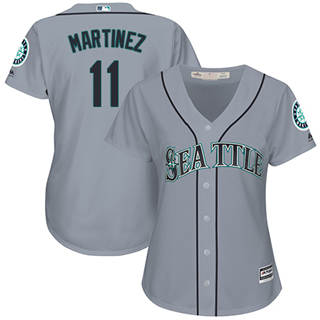 Women's Mariners #11 Edgar Martinez Grey Road Stitched Baseball Jersey