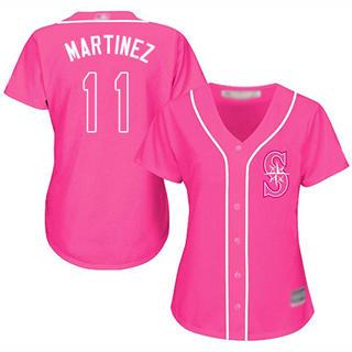 Women's Mariners #11 Edgar Martinez Pink Fashion Stitched Baseball Jersey