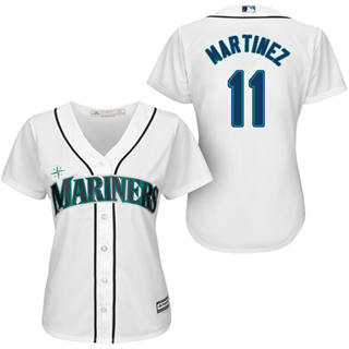 Women's Mariners #11 Edgar Martinez White Home Stitched Baseball Jersey