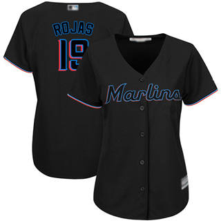 Women's Marlins #19 Miguel Rojas Black Alternate Stitched Baseball Jersey