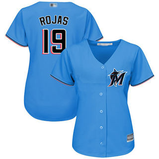 Women's Marlins #19 Miguel Rojas Blue Alternate Stitched Baseball Jersey