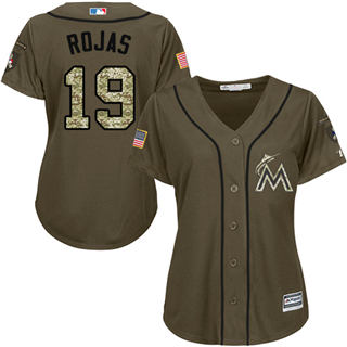Women's Marlins #19 Miguel Rojas Green Salute to Service Stitched Baseball Jersey