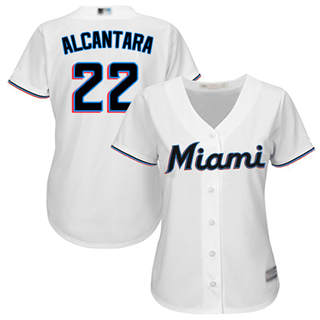 Women's Marlins #22 Sandy Alcantara White Home Stitched Baseball Jersey