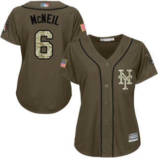 Women's Mets #6 Jeff McNeil Green Salute to Service Stitched Baseball Jersey