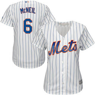 Women's Mets #6 Jeff McNeil White(Blue Strip) Home Stitched Baseball Jersey