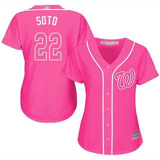 Women's Nationals #22 Juan Soto Pink Fashion Stitched Baseball Jersey