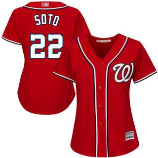 Women's Nationals #22 Juan Soto Red Alternate Stitched Baseball Jersey