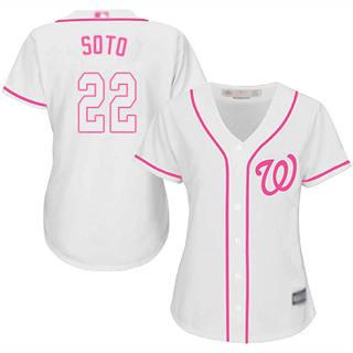 Women's Nationals #22 Juan Soto White Pink Fashion Stitched Baseball Jersey