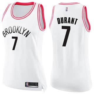 Women's Nets #7 Kevin Durant White Pink Basketball Swingman Fashion Jersey