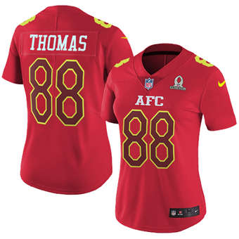 Women's  Broncos #88 Demaryius Thomas Red Stitched Football Limited AFC 2017 Pro Bowl Jersey