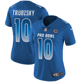 Women's  Chicago Bears #10 Mitchell Trubisky Royal Stitched Football Limited NFC 2019 Pro Bowl Jersey