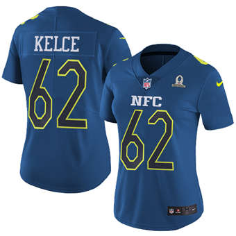 Women's  Eagles #62 Jason Kelce Navy Stitched Football Limited NFC 2017 Pro Bowl Jersey
