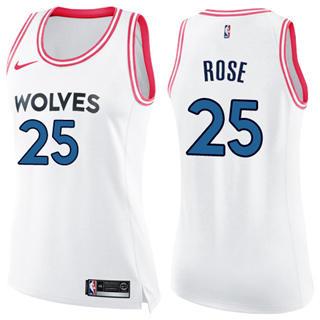 Women's  Minnesota Timberwolves #25 Derrick Rose White Pink Basketball Swingman Fashion Jersey