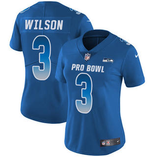 Women's  Seahawks #3 Russell Wilson Royal Stitched Football Limited NFC 2019 Pro Bowl Jersey