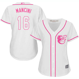 Women's Orioles #16 Trey Mancini White Pink Fashion Stitched Baseball Jersey