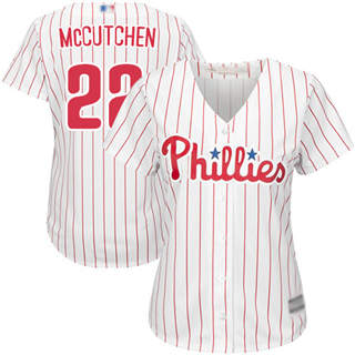 Women's Phillies #22 Andrew McCutchen White(Red Strip) Home Stitched Baseball Jersey