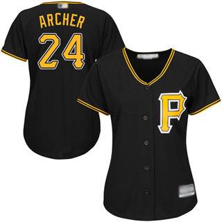 Women's Pirates #24 Chris Archer Black Alternate Stitched Baseball Jersey